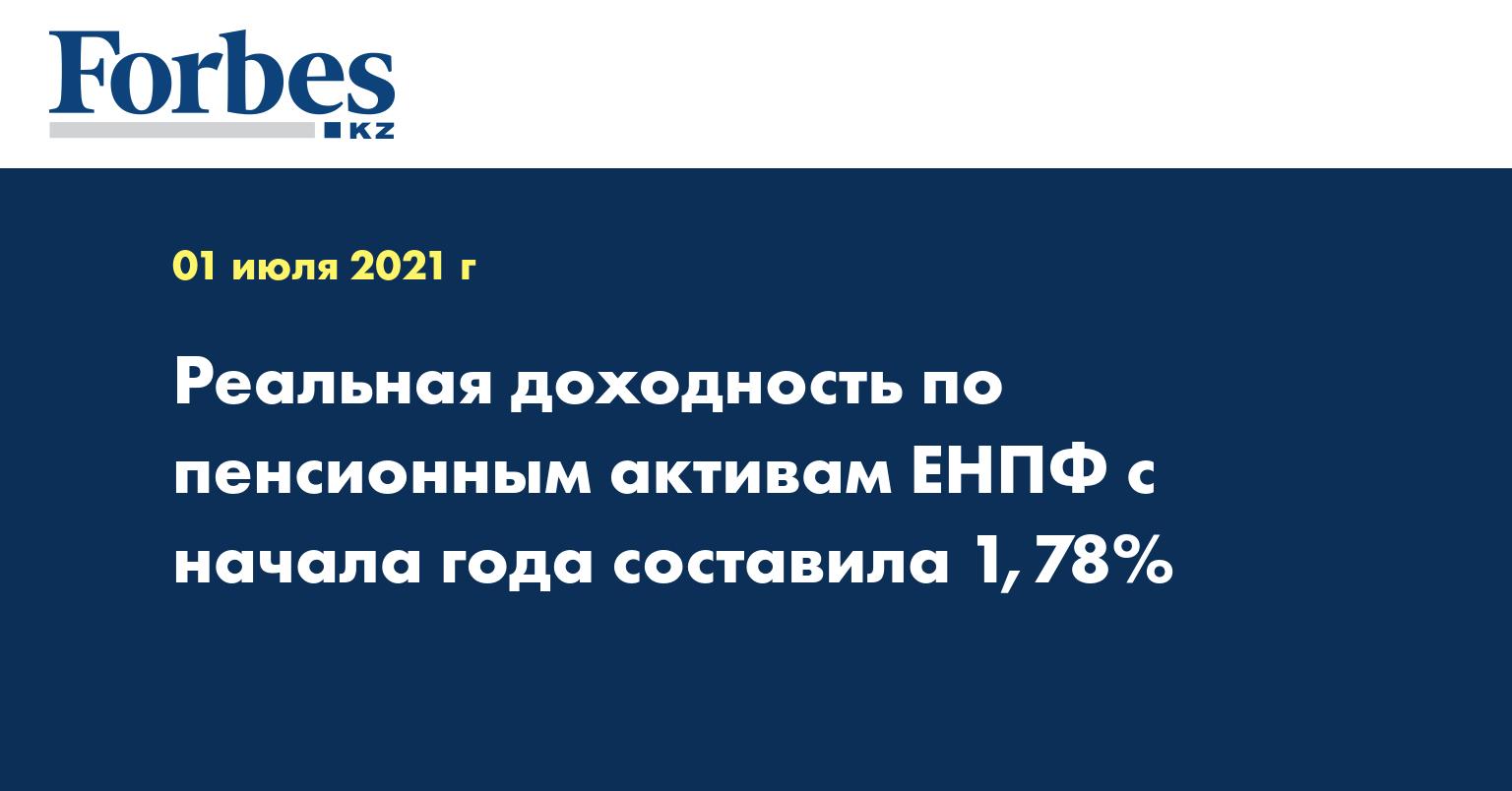 Реальная доходность по пенсионным активам ЕНПФ с начала года составила 1,78%