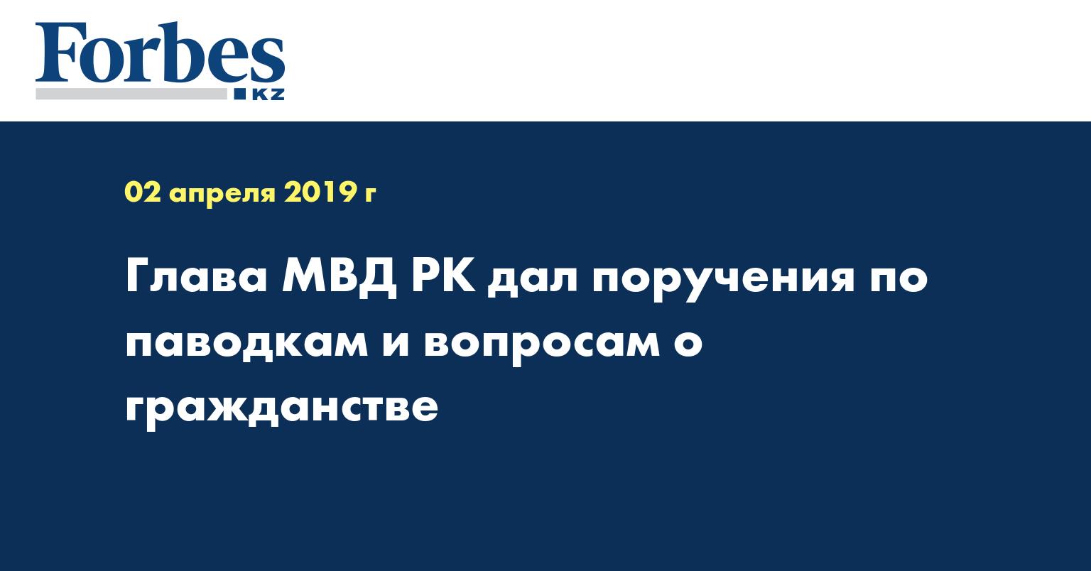 Глава МВД РК дал поручения по паводкам и вопросам о гражданстве