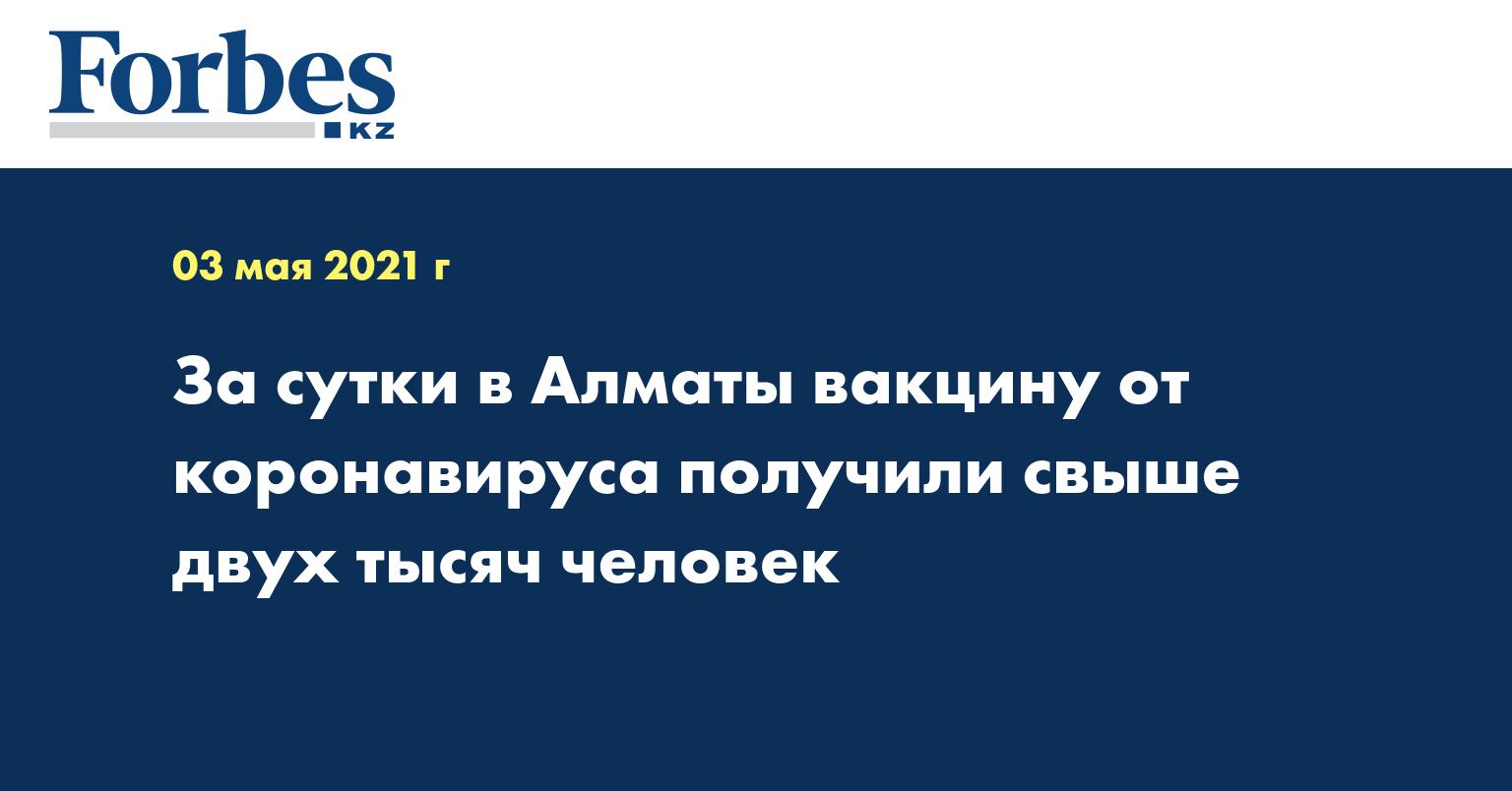 За сутки в Алматы вакцину от коронавируса получили свыше двух тысяч человек