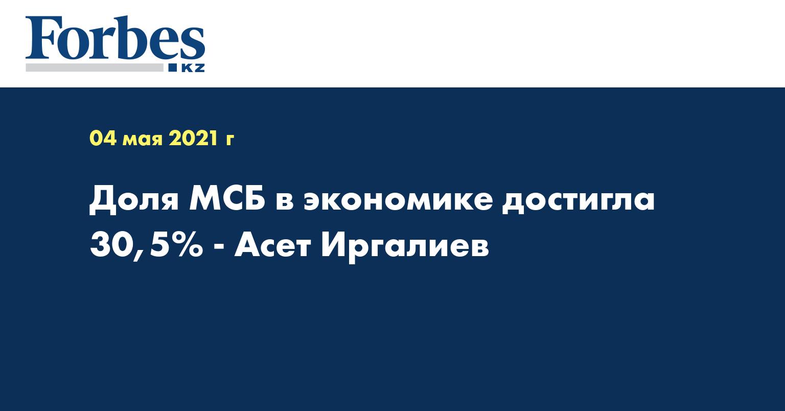 Доля МСБ в экономике достигла 30,5% - Асет Иргалиев