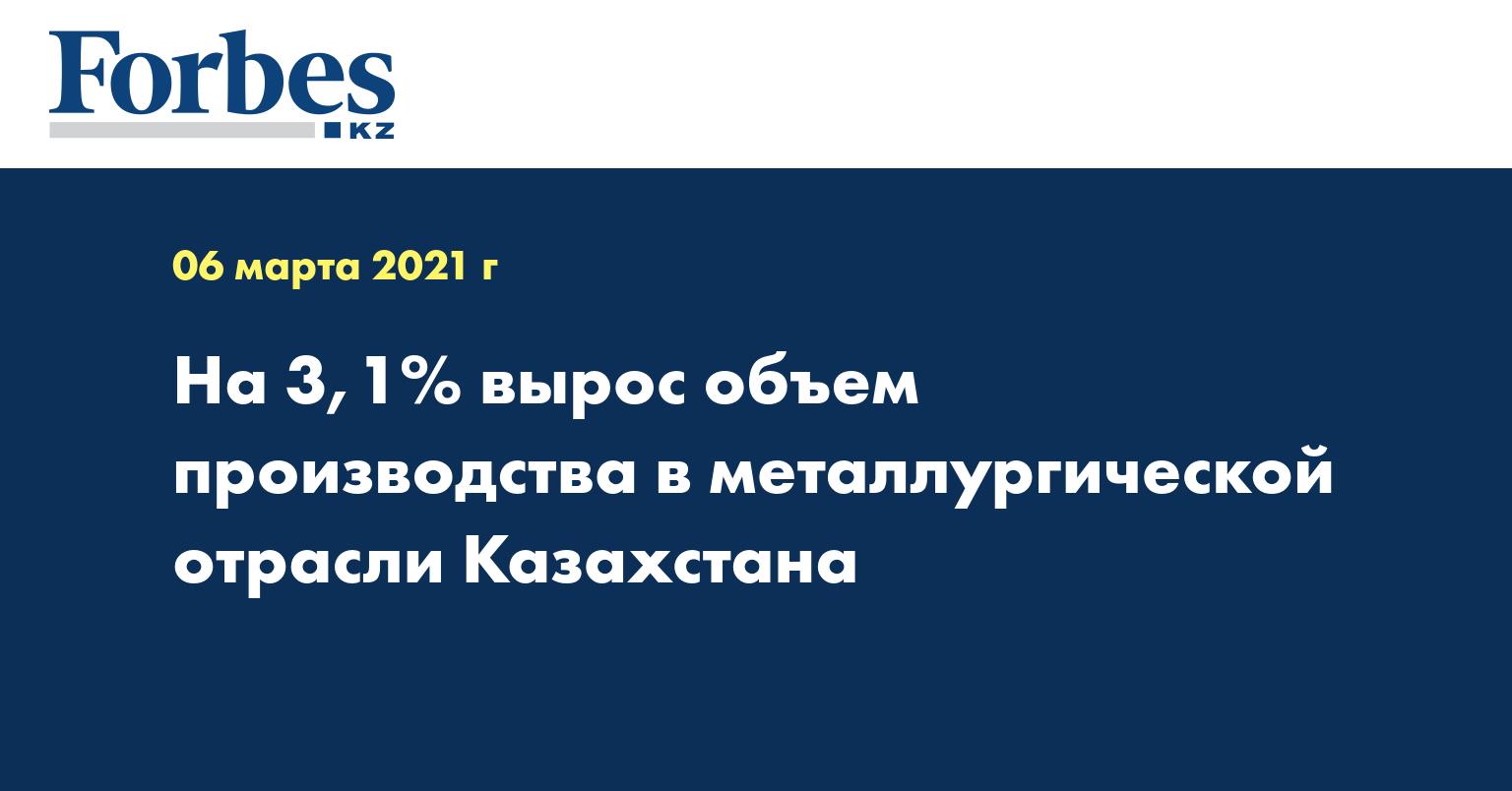 На 3,1% вырос объем производства в металлургической отрасли Казахстана