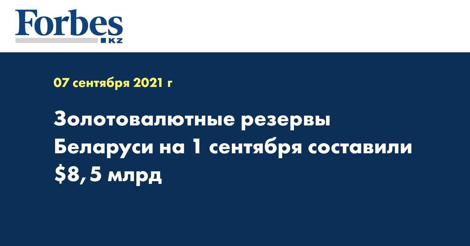 Золотовалютные резервы Беларуси на 1 сентября составили $8,5 млрд