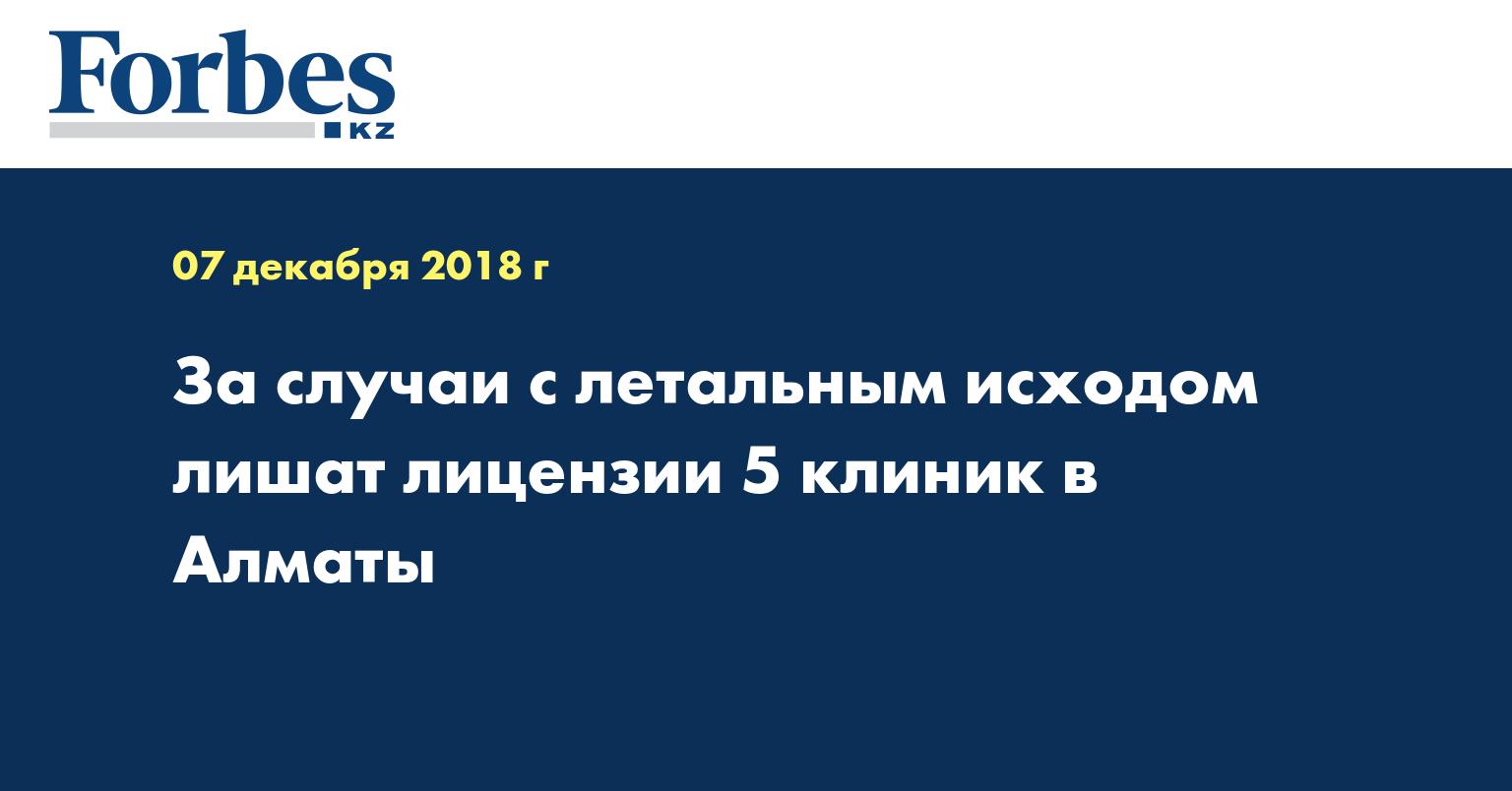 За случаи с летальным исходом лишат лицензии 5 клиник в Алматы