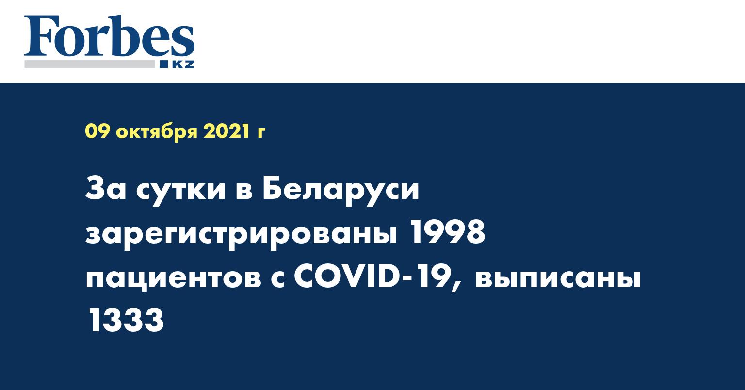 За сутки в Беларуси зарегистрированы 1998 пациентов с COVID-19, выписаны 1333