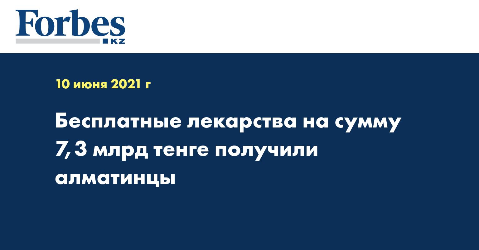 Бесплатные лекарства на сумму 7,3 млрд тенге получили алматинцы