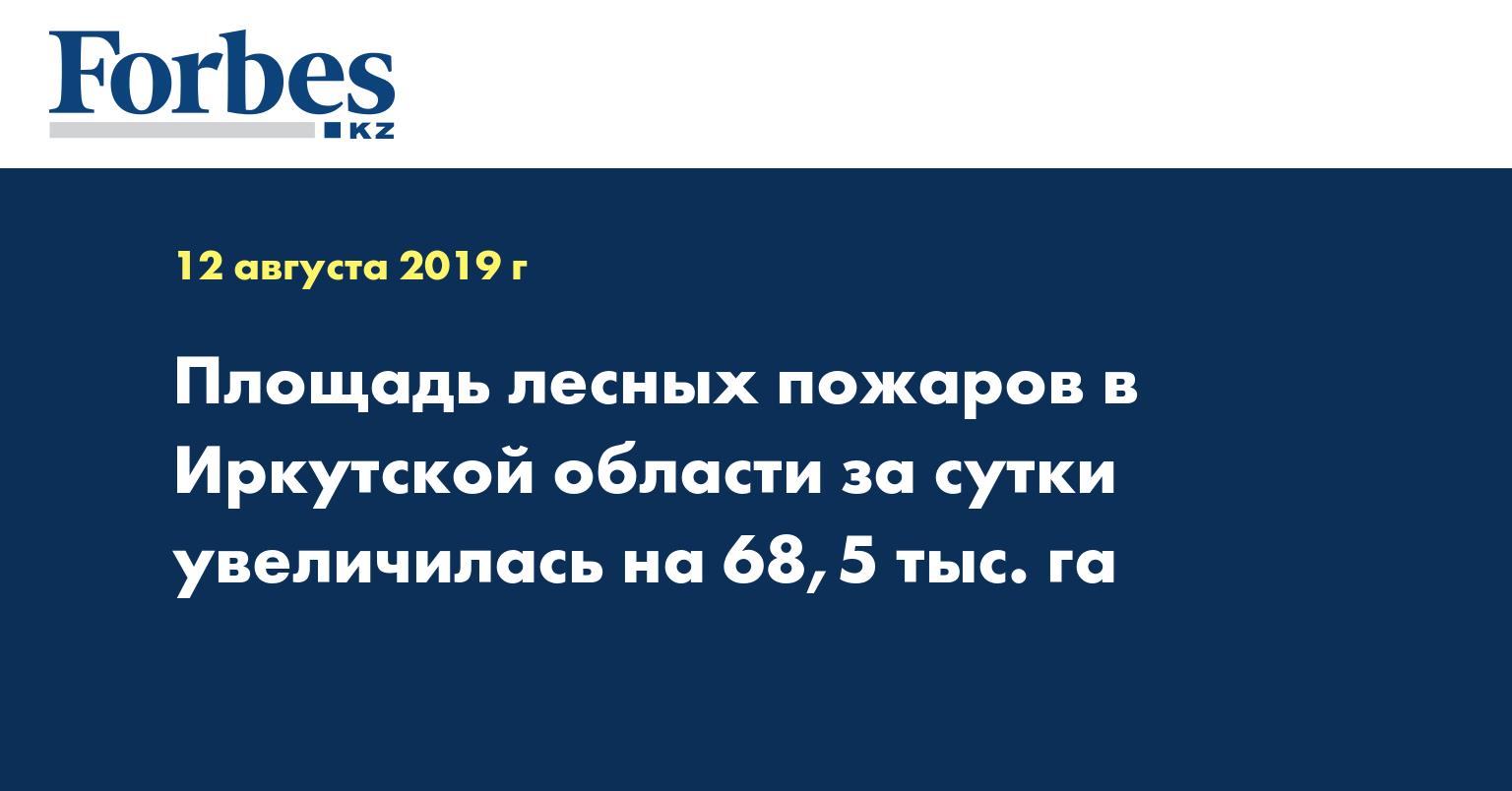 Площадь лесных пожаров в Иркутской области за сутки увеличилась на 68,5 тыс. га
