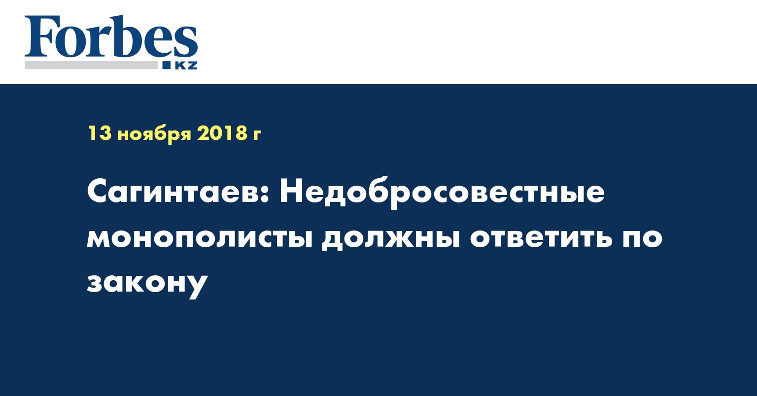 Сагинтаев: Недобросовестные монополисты должны ответить по закону
