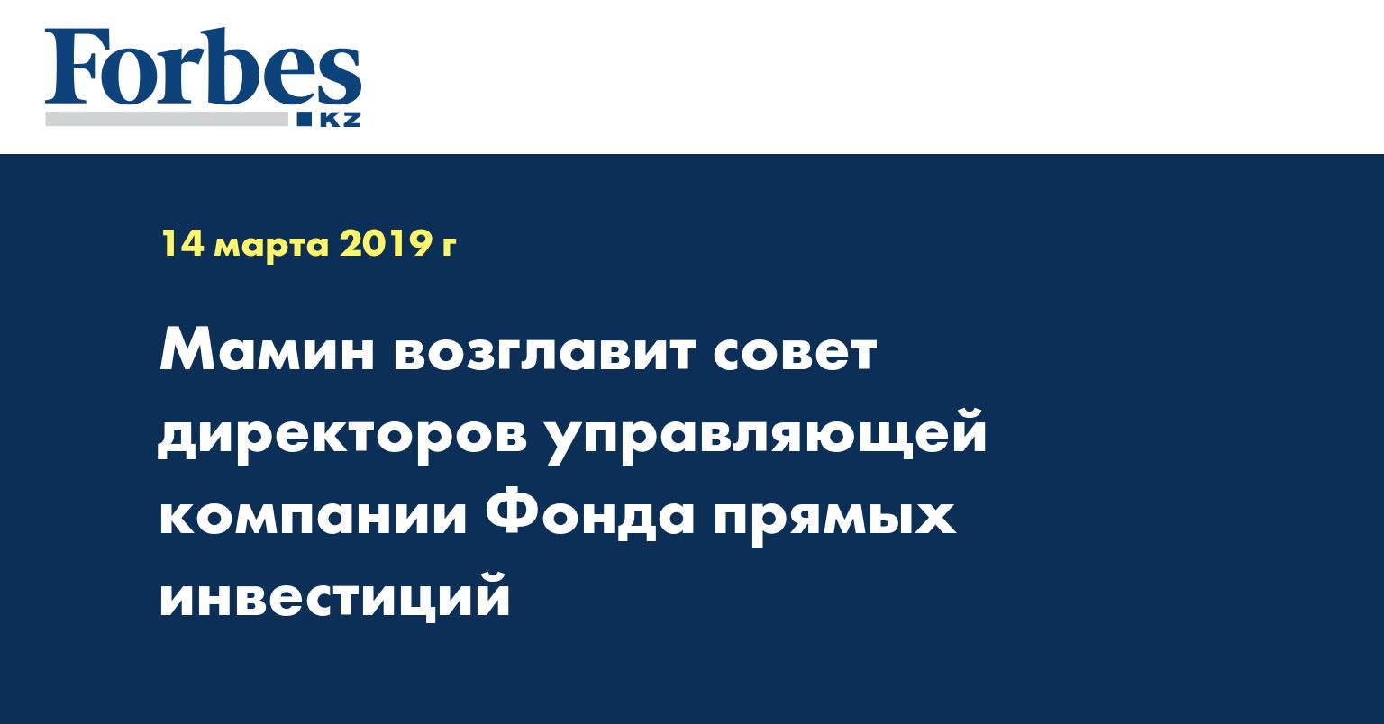 Мамин возглавит совет директоров управляющей компании Фонда прямых инвестиций
