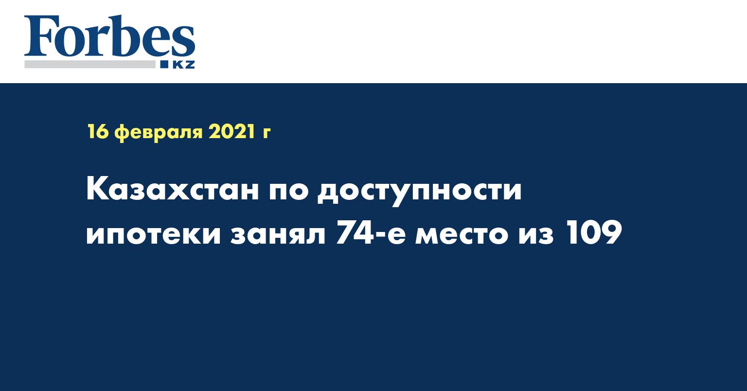 Казахстан по доступности ипотеки занял 74-е место из 109