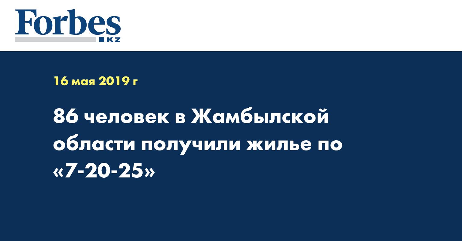 86 человек в Жамбылской области получили жилье по «7-20-25»