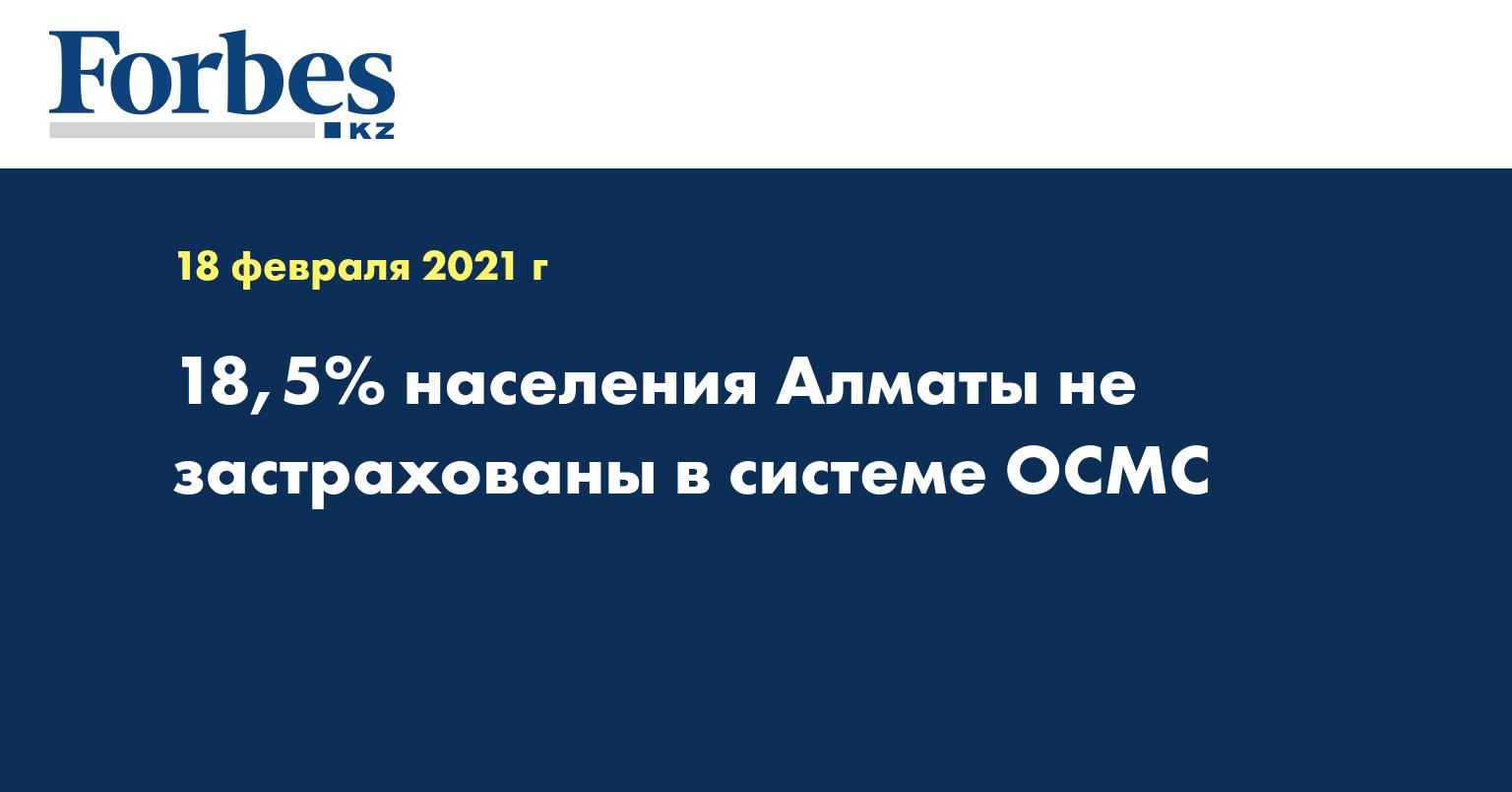 18,5% населения Алматы не застрахованы в системе ОСМС