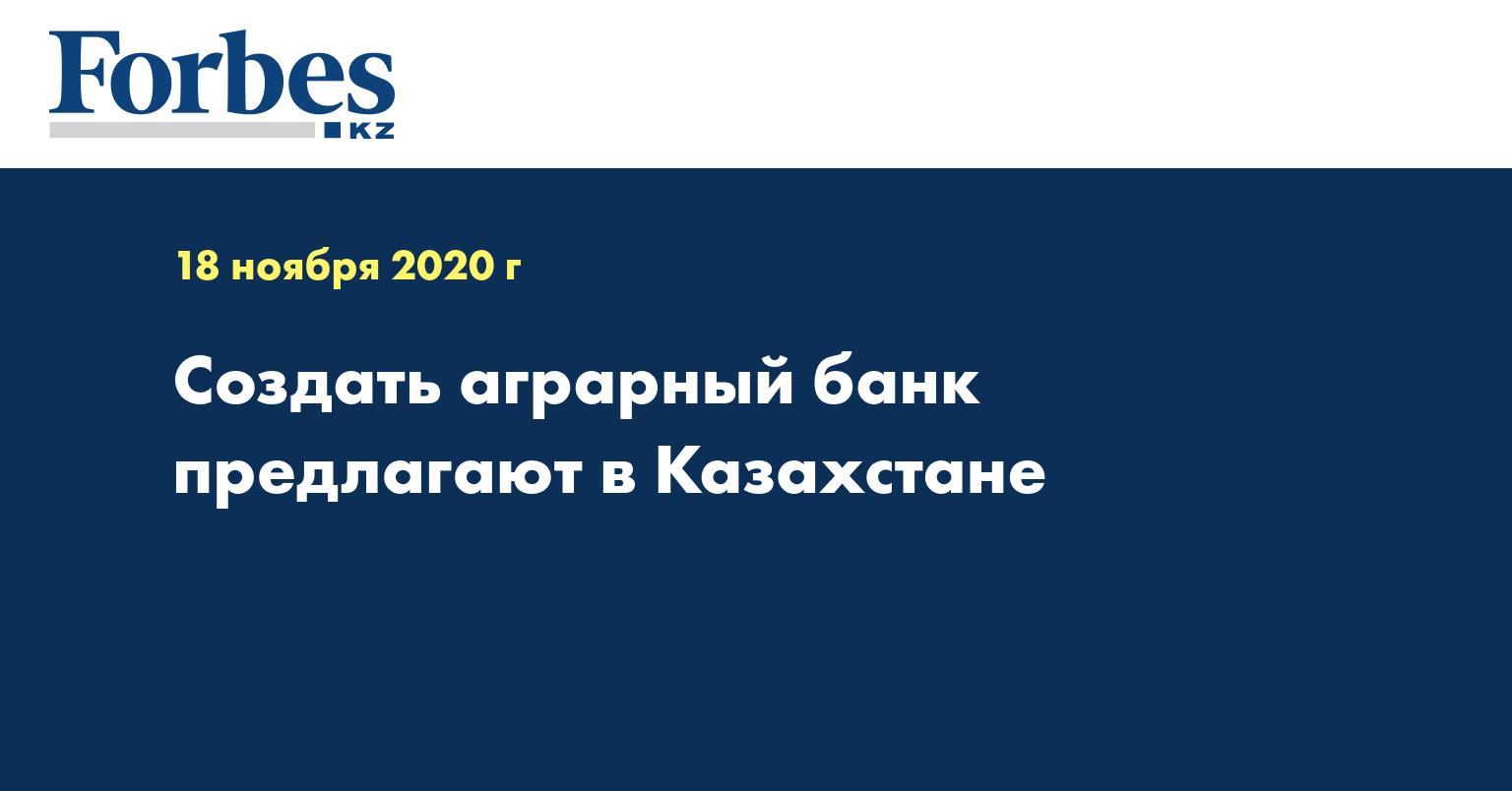 Создать аграрный банк предлагают в Казахстане