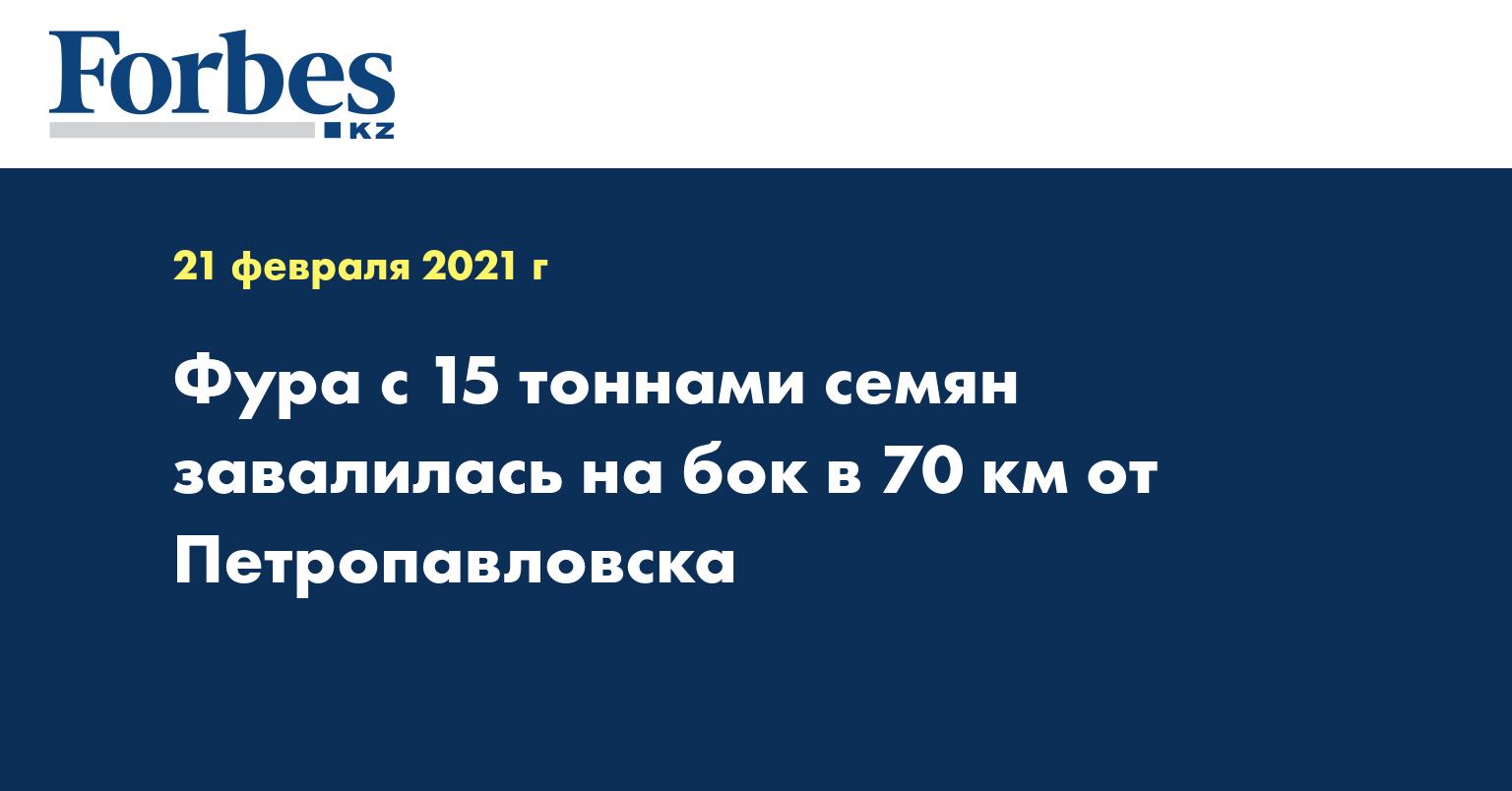 Фура с 15 тоннами семян завалилась на бок в 70 км от Петропавловска