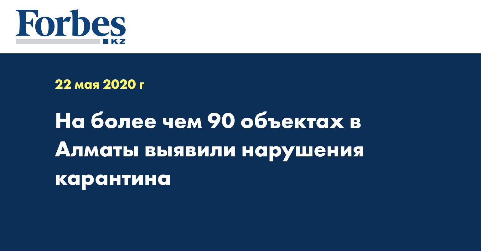 На более чем 90 объектах в Алматы выявили нарушения карантина