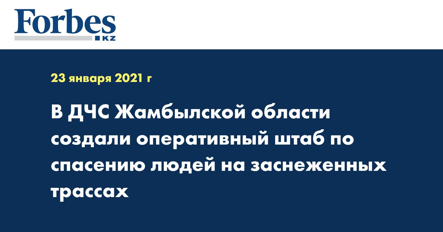 В ДЧС Жамбылской области создали оперативный штаб по спасению людей на заснеженных трассах