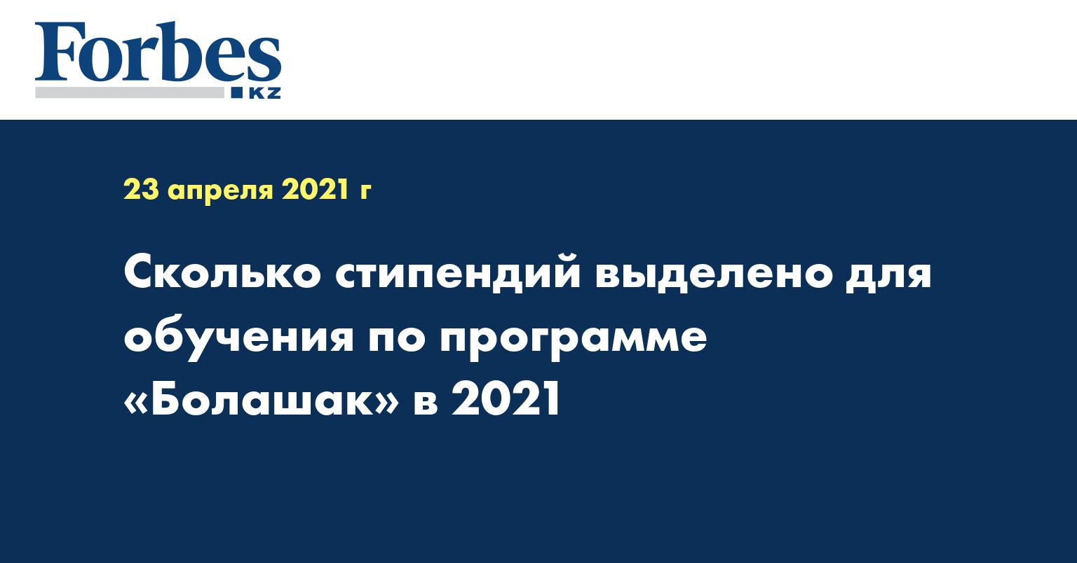 Сколько стипендий выделено для обучения по программе «Болашак» в 2021
