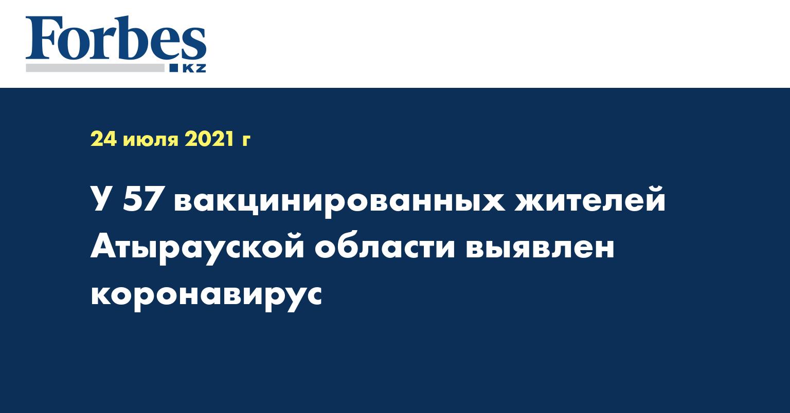 У 57 вакцинированных жителей Атырауской области выявлен коронавирус