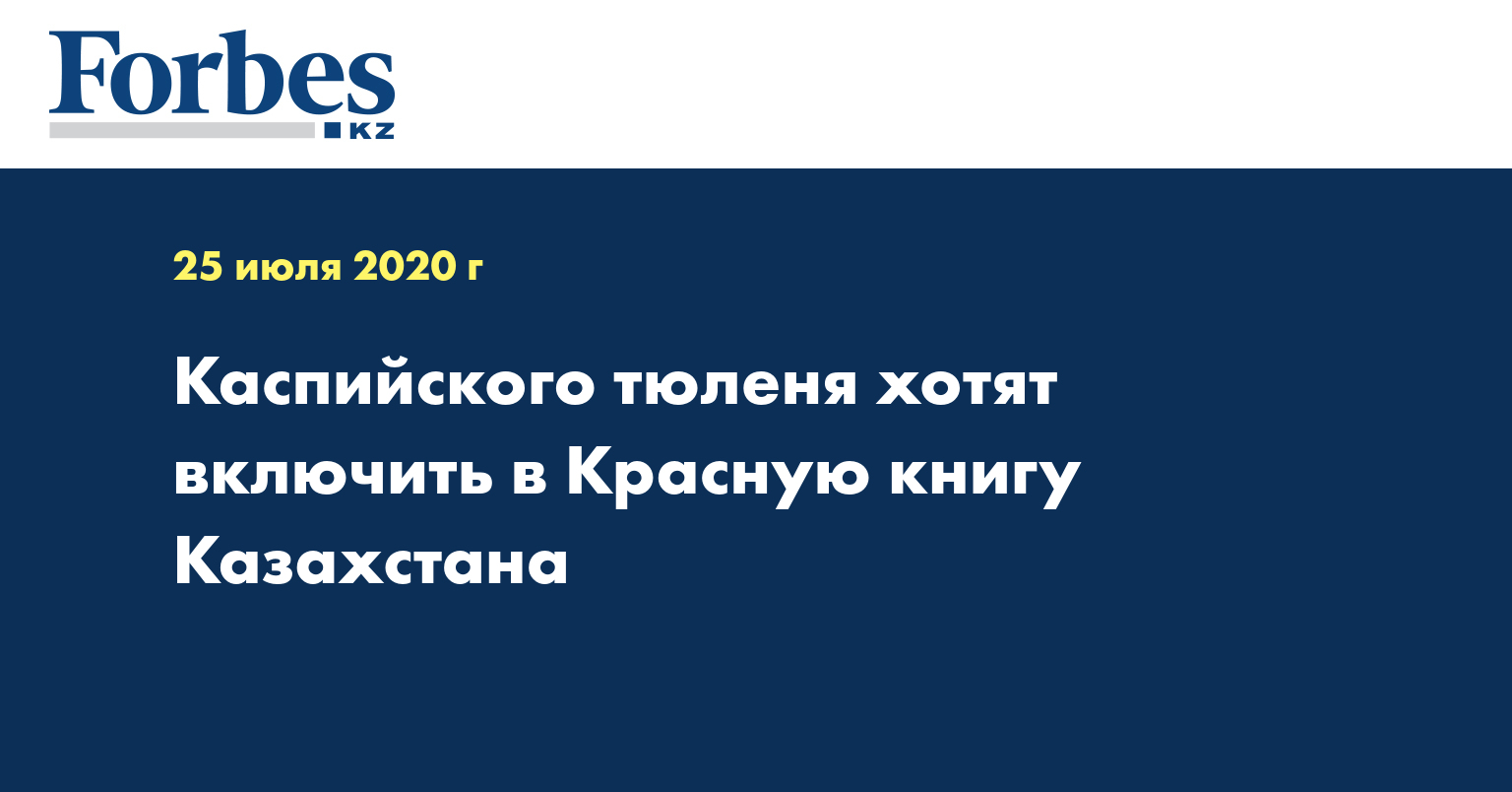 Каспийского тюленя хотят включить в Красную книгу Казахстана