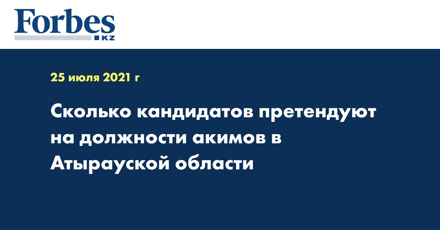 Сколько кандидатов претендуют на должности акимов в Атырауской области