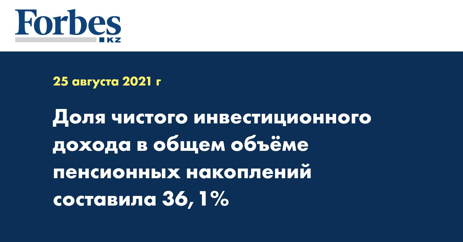 Доля чистого инвестиционного дохода в общем объёме пенсионных накоплений составила 36,1%