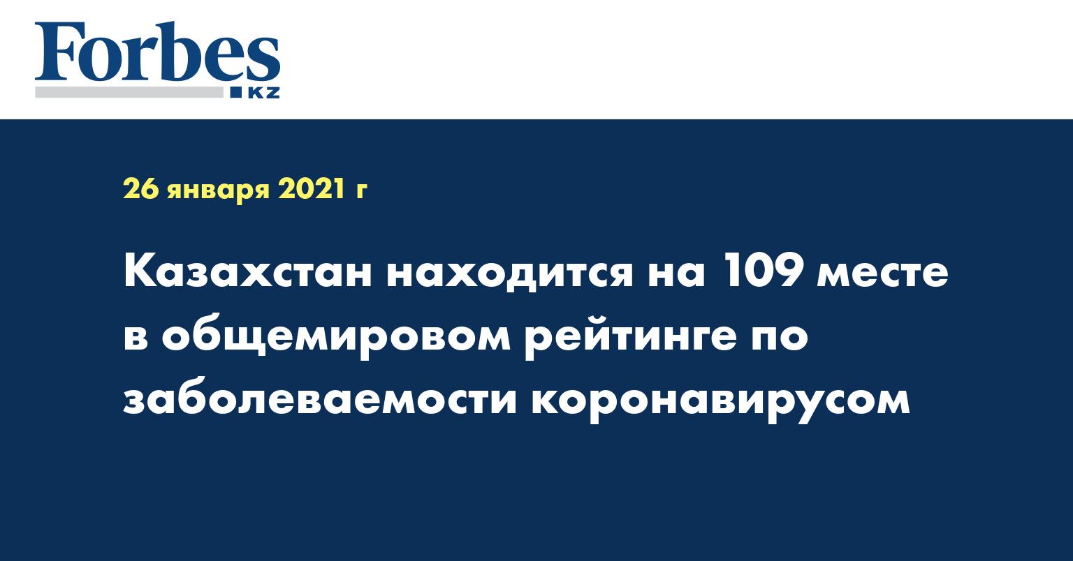 Казахстан находится на 109 месте в общемировом рейтинге по заболеваемости коронавирусом