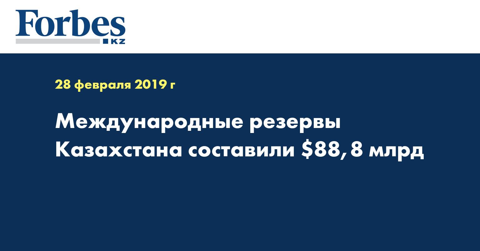 Международные резервы Казахстана составили $88,8 млрд
