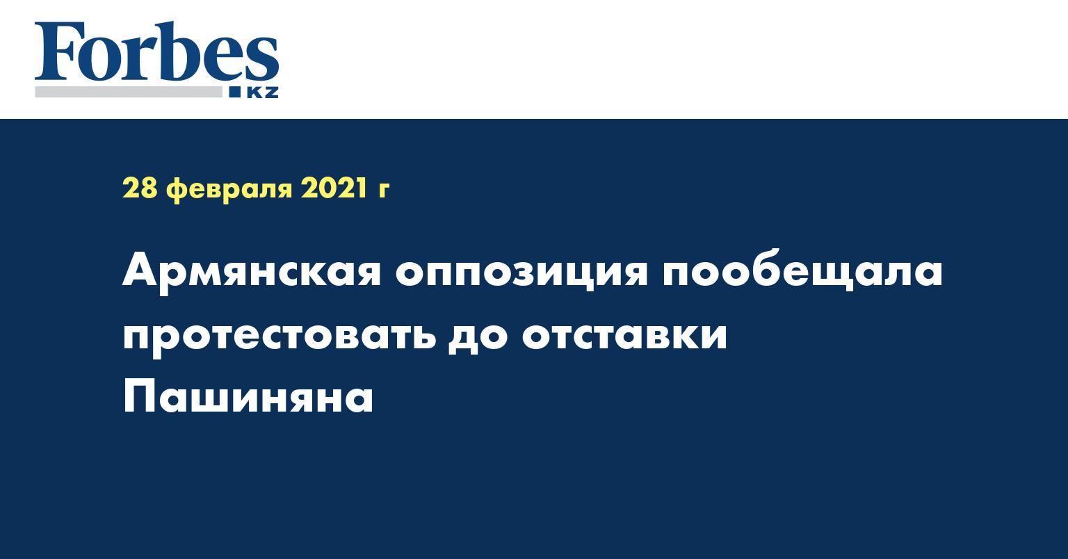 Армянская оппозиция пообещала протестовать до отставки Пашиняна