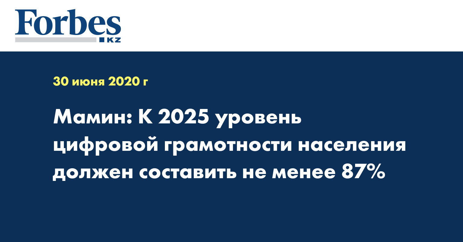 Мамин: К 2025 уровень цифровой грамотности населения должен составить не менее 87%